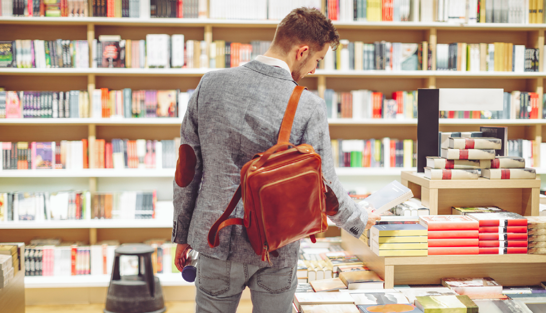 Man standing in book store