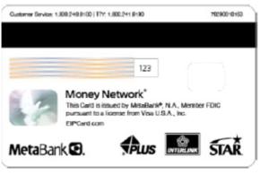 Back of EIP debit card